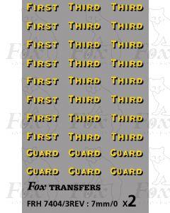 SR Bulleid Sunshine Coach Classifications (FIRST, THIRD & GUARD)