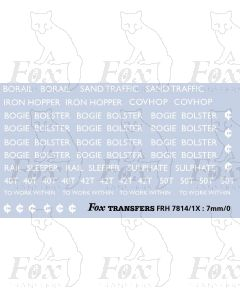 Freight Vehicle Names and Instruction Composite - BOGIE BOLSTER, RAIL SLEEPER , SULPHATE, IRON HOPPER etc
