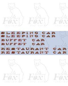 LNER Teak Coach Branding - RESTAURANT CAR - SLEEPING CAR - BUFFET CAR
