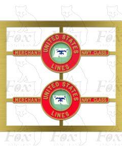 21C12 UNITED STATES LINES - fluttering flag design