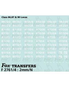 Virgin Class 86, 87 & 90 Numbersets/Detailing