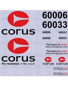 Corus logos/detailing for Class 60 silver-liveried locos (2 sheets as illustrated)