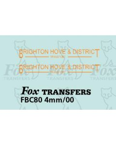 FLEETNAMES - BRIGHTON HOVE & DISTRICT TRANSPORT