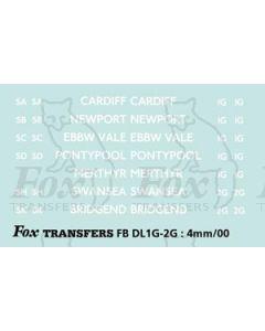 BRANCH NAMES - CARDIFF, NEWPORT, EBBW VALE, PONTYPOOL, MERTHYR, SWANSEA, BRIDGEND