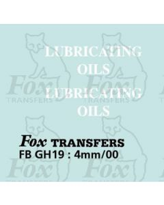 TRANSPORT COMPANIES - LUBRICATING OILS