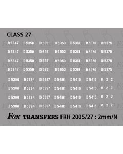 Pre TOPS 27 Class Locomotive Numbersets