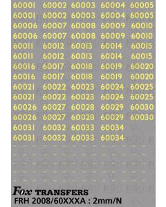 Cabside Numbersets for GRESLEY A4s