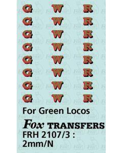 GWR Locomotive Initials gold/red/black