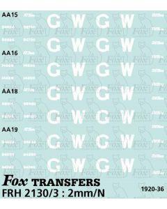 GWR Brake Van Livery Elements diagrams AA15/16/18/19 (1920-36)