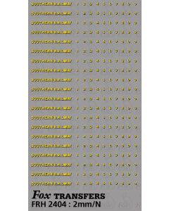 SR Bulleid Sunshine Coach Lettering/Numbering