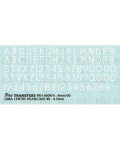 Loco/DMU Train Reporting Alpha-Numerics 4.3mm (As FRH4009)