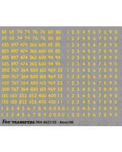 Mk1 Coaching stock rake set numbering and numbersets - yellow