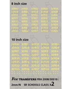 Cabside numbersets 30900-30939 for SR SCHOOLS Class - 8 & 10 inch sizes