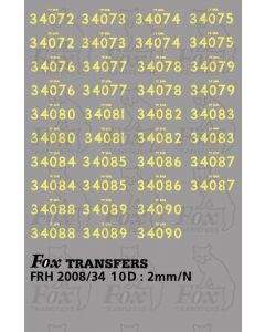 Cabside numbersets for Bulleid Light Pacifics WC/BB