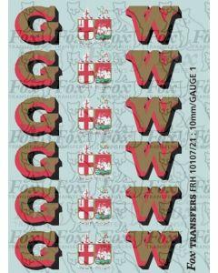 1927-1934 : G (twin shield crest) W Loco Initials gold/red