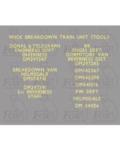 Departmental Brandings - Wick breakdown train (2 sheets)
