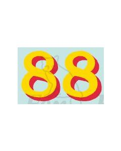 (34.5mm high) Yellow/red shadow - 1 pair number 8